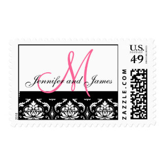 Wedding Monogram & Names Pink Damask Postage
