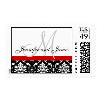Wedding Monogram Names Red Damask Postage
