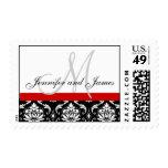 Wedding Monogram Names Red Damask Postage