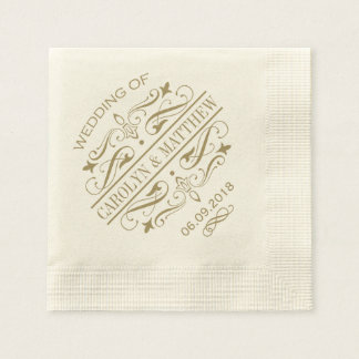 Wedding Monogram Napkins | Antique Gold Flourish