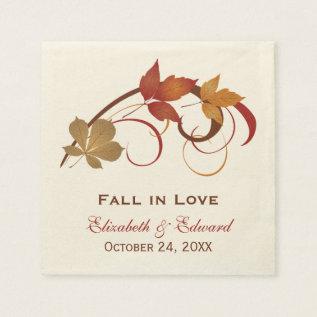 Wedding Monogram Napkins | Autumn Fall Leaves at Zazzle