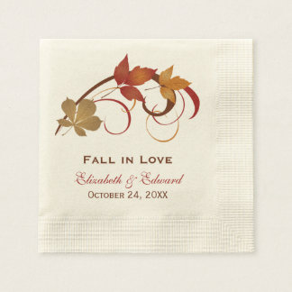Wedding Monogram Napkins | Autumn Fall Leaves