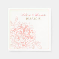 Wedding Monogram Napkins | Coral Peony Design Paper Napkin