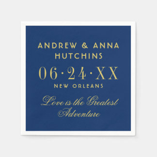 Wedding Monogram Napkins | Navy Blue and Gold