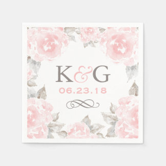 Wedding Monogram Napkins | Pink Watercolor Roses