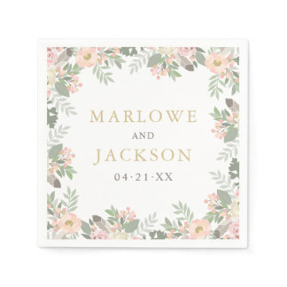 Wedding Monogram Napkins | Spring Vintage Boho