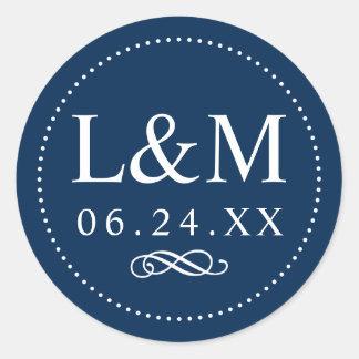 Wedding Monogram | Navy Classic Elegance Classic Round Sticker