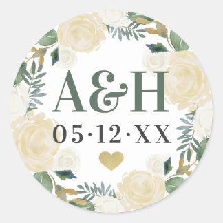 Wedding Monogram   Neutral Blooms Classic Round Sticker