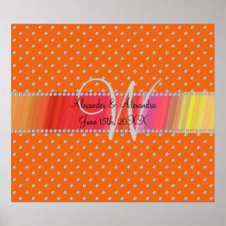 Wedding monogram orange diamonds posters