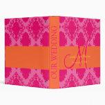 Wedding Monogram Orange Pink Planner Binders