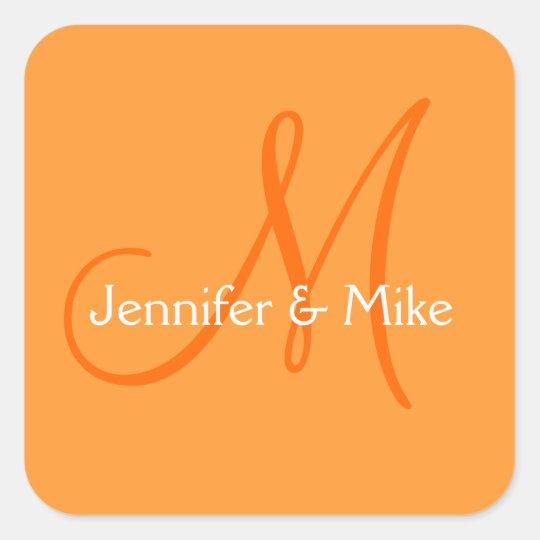 Wedding Monogram Orange Stickers Square