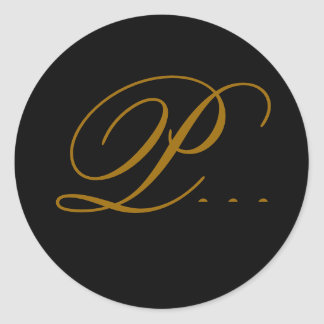 Wedding Monogram P Gold & Black Seal Sticker