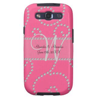 Wedding monogram pink diamond swirls samsung galaxy s3 covers