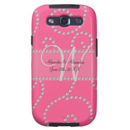 Wedding monogram pink diamond swirls galaxy s3 cover