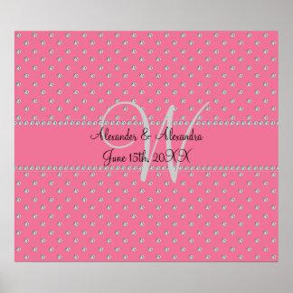 Wedding monogram pink diamonds posters