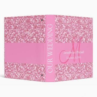 Wedding Monogram Pink Glitter Planner Printed 3 Ring Binder