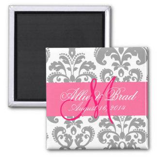 Wedding Monogram Pink Grey Damask Save the Date 2 Inch Square Magnet
