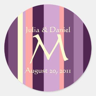 Wedding Monogram Pink Purple Envelope Seal Sticker