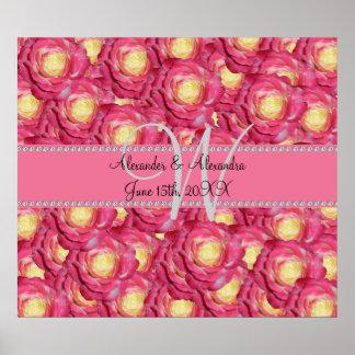 Wedding monogram pink roses poster