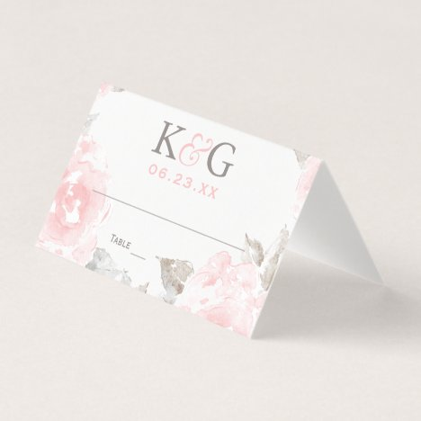 Wedding Monogram | Pink Watercolor Roses Place Card