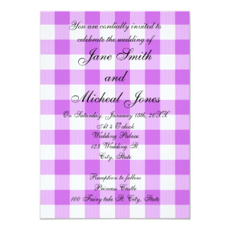 "Wedding monogram purple gingham checkers 4.5"" x 6.25"" invitation card"