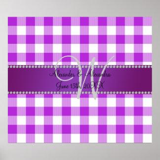 Wedding monogram purple gingham checkers print