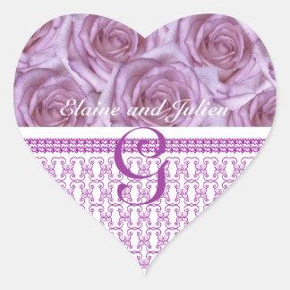 Wedding Monogram  Purple Roses Letter G Sticker