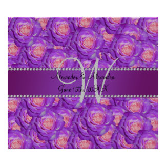 Wedding monogram purple roses print