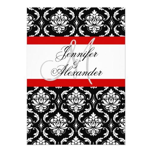 Wedding Monogram Red Damask Invitation Front View