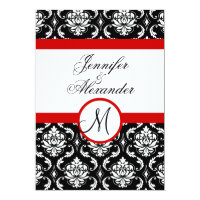 Wedding Monogram Red Damask Invitation Front View