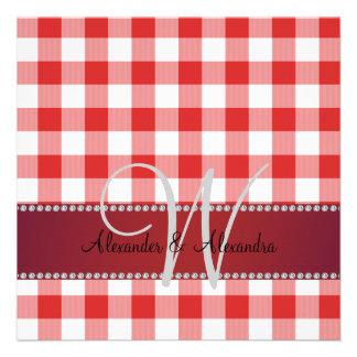 Wedding monogram red gingham checkers invites