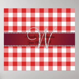Wedding monogram red gingham checkers print