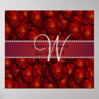 Wedding monogram red roses posters