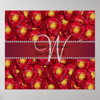 Wedding monogram red roses poster