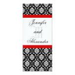 Wedding Monogram Red & White Damask Invitation