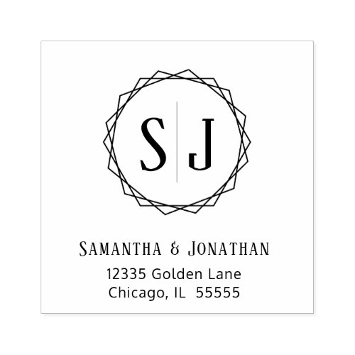 Wedding Monogram Return Address  Geometric Border Rubber Stamp