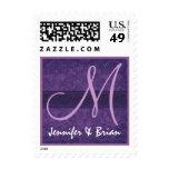 Wedding Monogram Royal Purple and Lilac Wedding Stamps