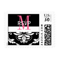Wedding Monogram RSVP Damask Postage