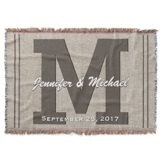 Wedding Monogram | Rustic Linen Look Throw