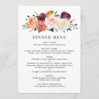 Wedding Monogram Rustic Romance Dinner Menu
