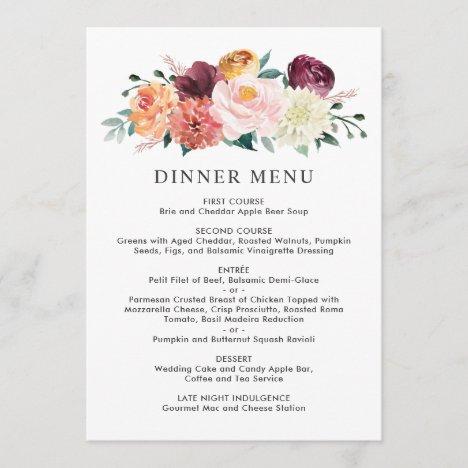 Wedding Monogram Rustic Romance Dinner Menu