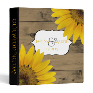 Wedding Monogram | Rustic Wood Sunflowers 3 Ring Binder