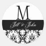 Wedding Monogram Save Date Damask Black and White Stickers
