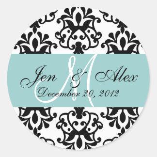 Wedding Monogram Save Date Damask Blue Seal