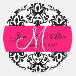 Wedding Monogram Save Date Damask Fuchsia Seal Round Sticker