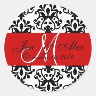 Wedding Monogram Save Date Damask Red Seal