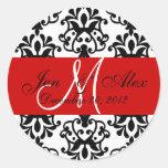 Wedding Monogram Save Date Damask Red Seal Round Sticker