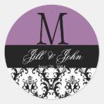 Wedding Monogram Save Date Damask Seal Purple Round Stickers
