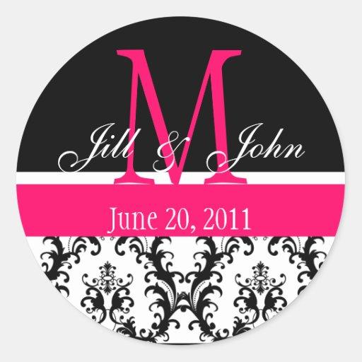 Wedding Monogram Save the Date Damask Hot Pink Sticker
