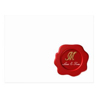 Wedding monogram seal postcard